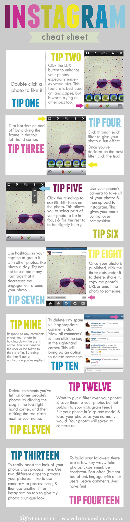 Instagram How to CheatSheet by http://fatmumslim.com.au